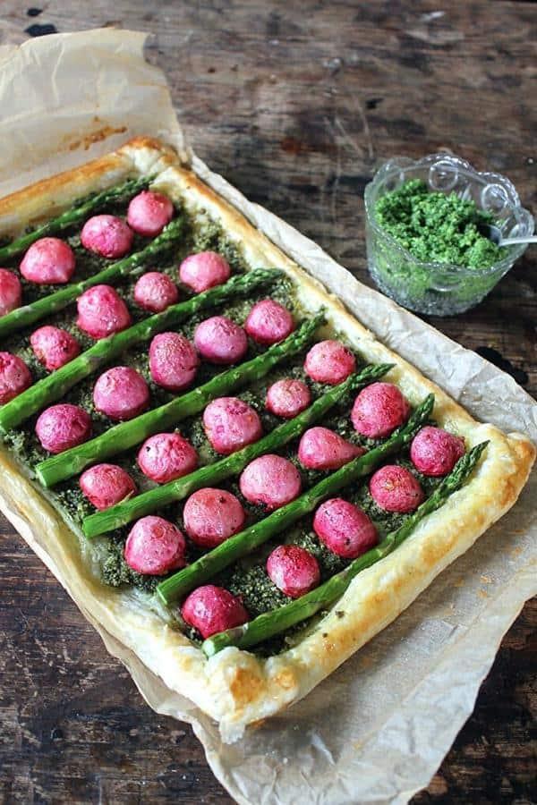 Roasted Radish and Asparagus Tart with Kale Pesto