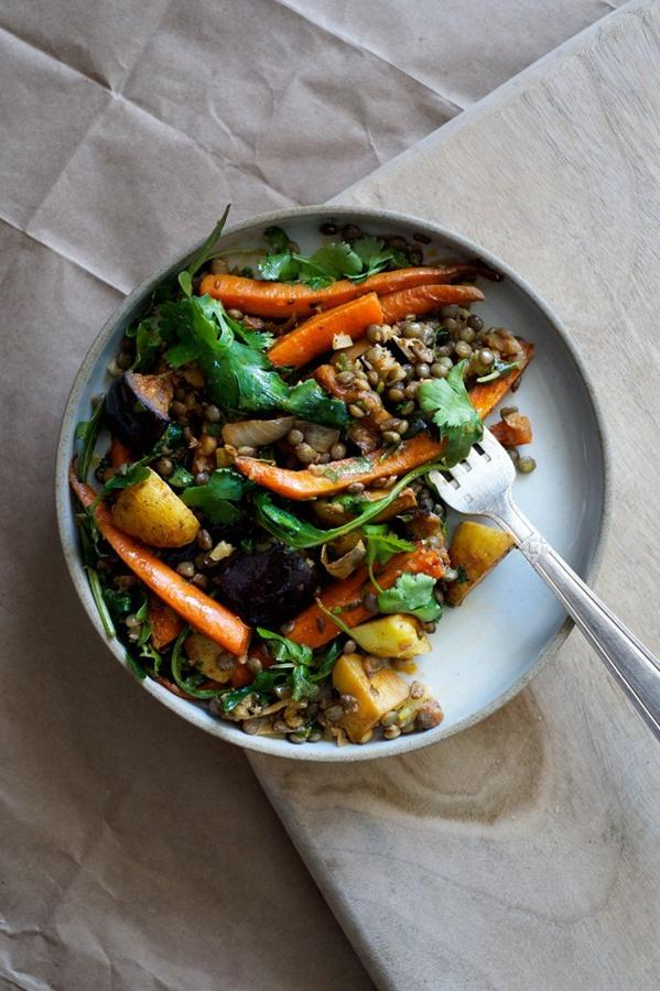 Spicy Roasted Carrot and Eggplant Salad with Puy Lentils and Preserved Lemon