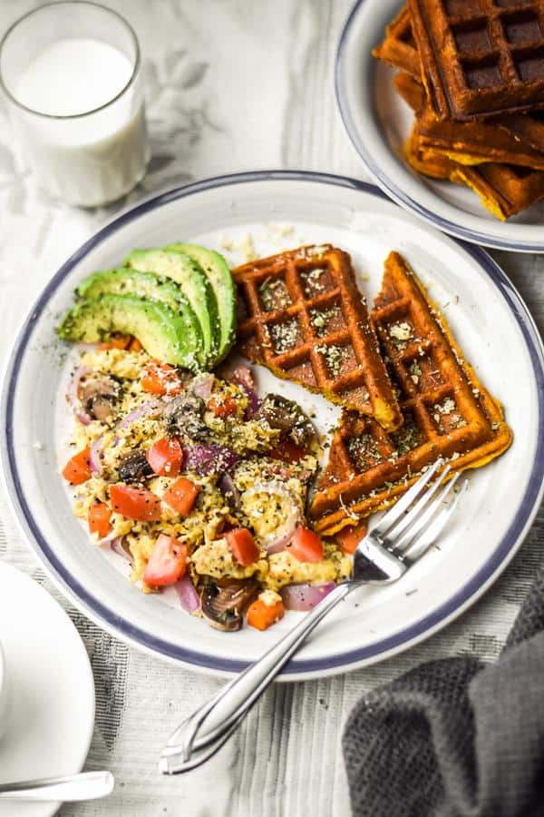 "Sweet Potato ""Buttermilk"" Waffles and Veggie Scramble"