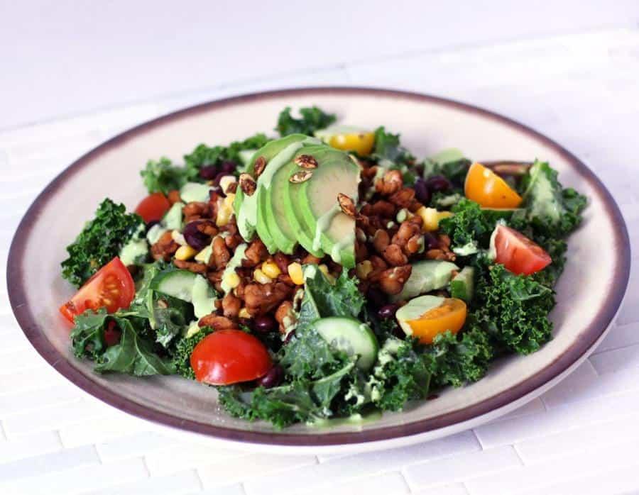 Tempeh Kale Taco Salad