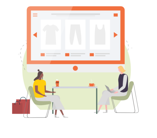 Illustration of two women discussing ecommerce and clothing