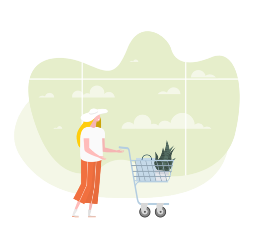 Illustration of a lady with a shopping cart